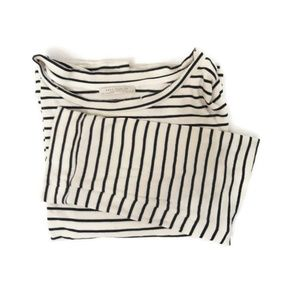 Zara Striped Off-White Cream Black Long sleeve top